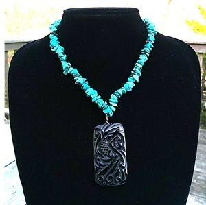 VINTAGE 925 Genuine Turquoise w HandCarved Pendant
